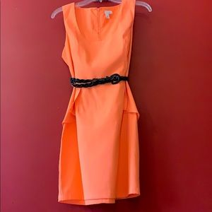 Unique orange sheath dress with removable belt!